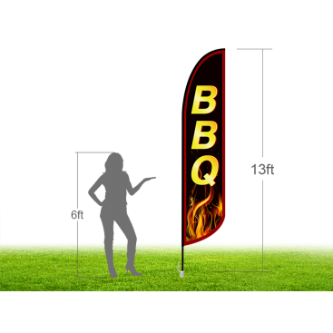 13ft BBQ Stock Blade Flag with Ground Stake 02