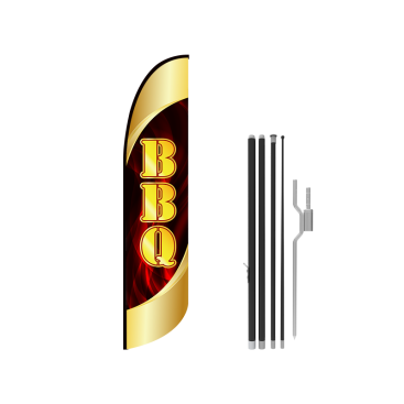 13ft BBQ Stock Blade Flag with Ground Stake 03