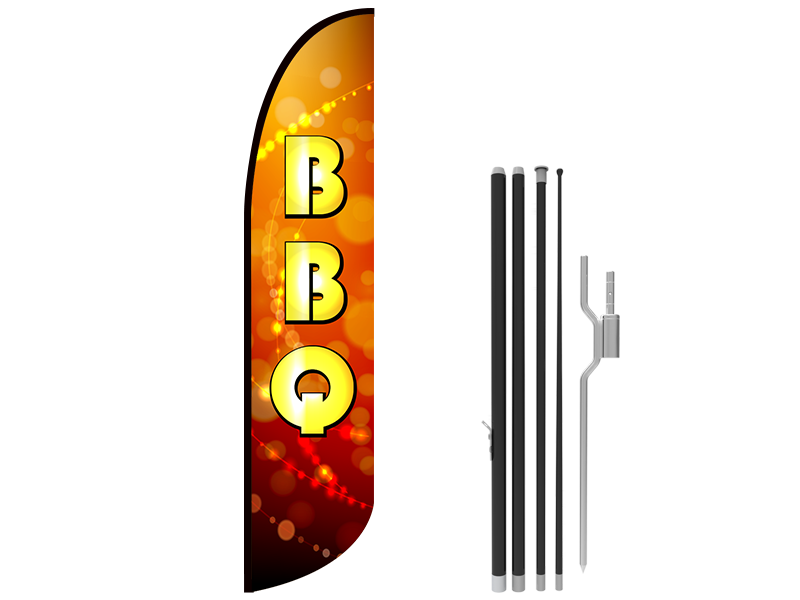 13ft BBQ Stock Blade Flag with Ground Stake 05