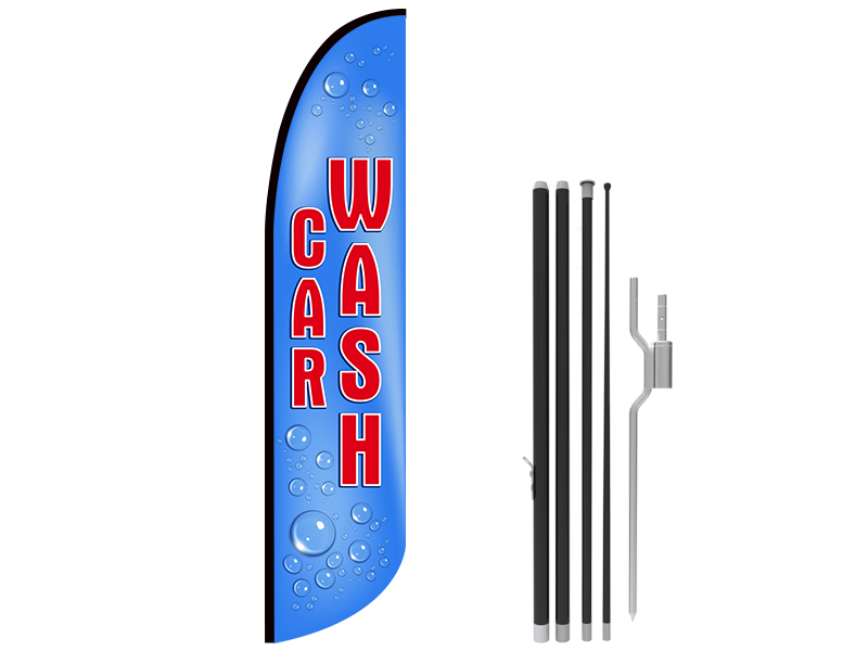 13ft CAR WASH Stock Blade Flag with Ground Stake 02