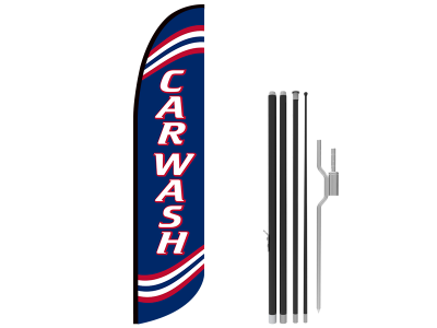 13ft CAR WASH Stock Blade Flag with Ground Stake 03