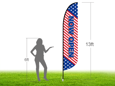 13ft NOW OPEN Stock Blade Flag with Ground Stake 03