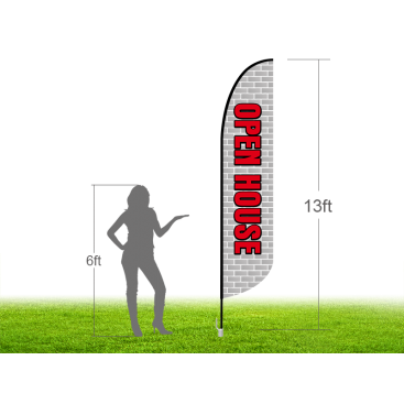 13ft OPEN HOUSE Stock Blade Flag with Ground Stake 02