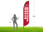 13ft OPEN HOUSE Stock Blade Flag with Ground Stake 04
