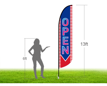 13ft OPEN Stock Blade Flag with Ground Stake 02