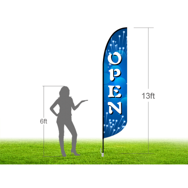 13ft OPEN Stock Blade Flag with Ground Stake 04