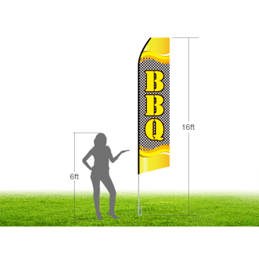 16ft BBQ Stock Swooper Flag with Ground Stake 03