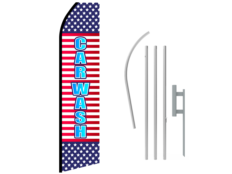 16ft CAR WASH Stock Swooper Flag with Ground Stake 02
