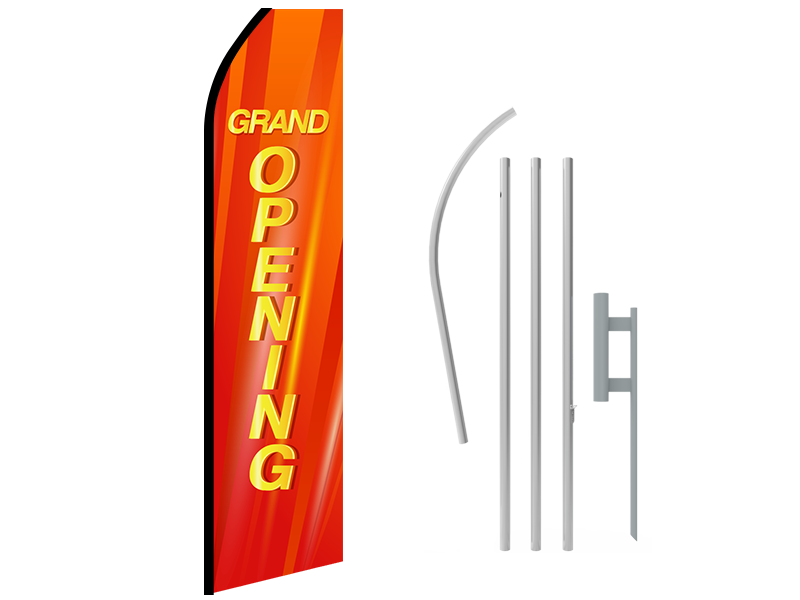 16ft GRAND OPENING Stock Swooper Flag with Ground Stake 01