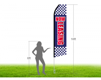 16ft NOW LEASING Stock Swooper Flag with Ground Stake 01