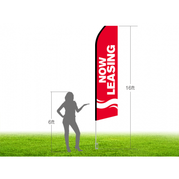 16ft NOW LEASING Stock Swooper Flag with Ground Stake 03