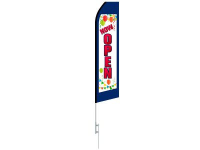 16ft NOW OPEN Stock Swooper Flag with Ground Stake 01