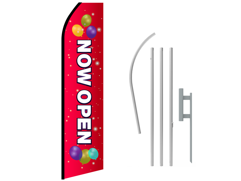 16ft NOW OPEN Stock Swooper Flag with Ground Stake 02