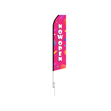 16ft NOW OPEN Stock Swooper Flag with Ground Stake 03