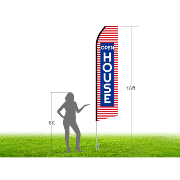 16ft OPEN HOUSE Stock Swooper Flag with Ground Stake 01