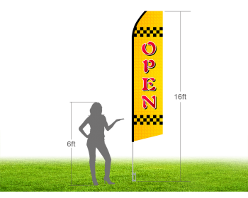 16ft OPEN Stock Swooper Flag with Ground Stake 01