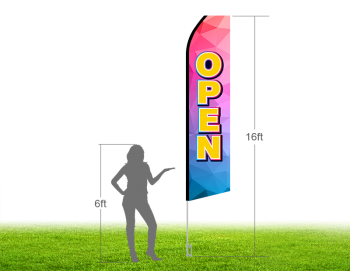 16ft OPEN Stock Swooper Flag with Ground Stake 03