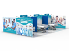 Custom 20x30ft Medical Room Divider Tension Fabric Brand Graphic Printing 01 (Frame + Graphic)