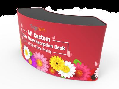 5ft Trade Show Reception Desk Custom Printing