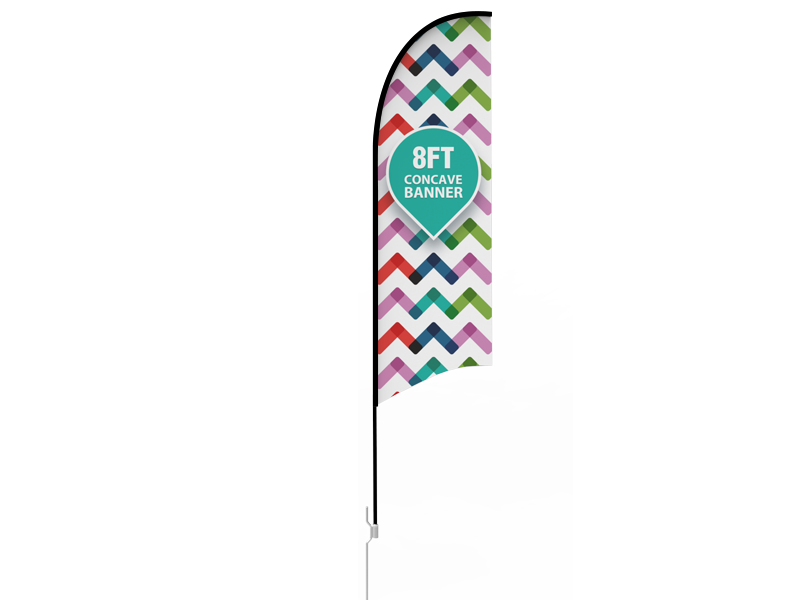 8ft Concave Feather Flag with Ground Stake