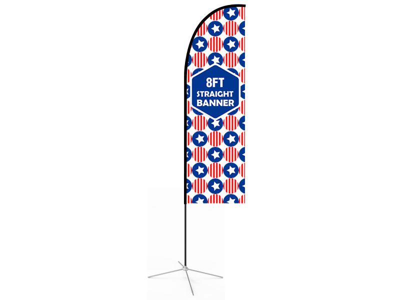 8ft Straight Feather Flag with Cross Base & Water Bag