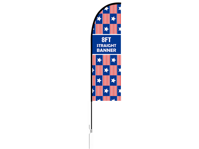 8ft Straight Feather Flag with Ground Stake