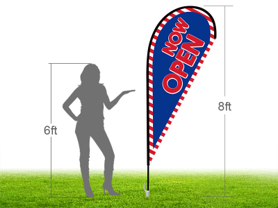 8ft NOW OPEN Stock Teardrop Flag with Ground Stake 02