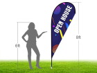 8ft OPEN HOUSE Stock Teardrop Flag with Ground Stake 01