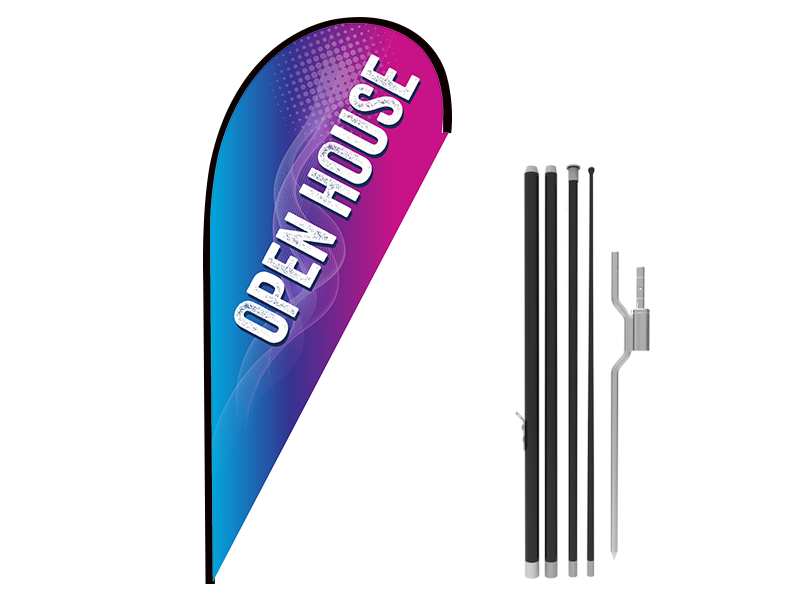 8ft OPEN HOUSE Stock Teardrop Flag with Ground Stake 02