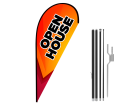 8ft OPEN HOUSE Stock Teardrop Flag with Ground Stake 03
