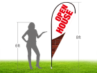 8ft OPEN HOUSE Stock Teardrop Flag with Ground Stake 05