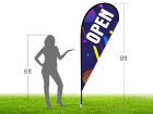 8ft OPEN Stock Teardrop Flag with Ground Stake 03