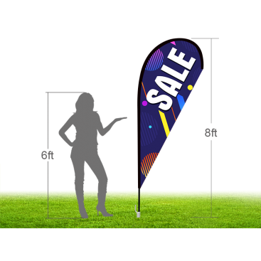 8ft SALE Stock Teardrop Flag with Ground Stake 02