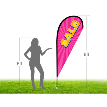 8ft SALE Stock Teardrop Flag with Ground Stake 03