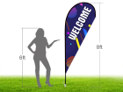 8ft WELCOME Stock Teardrop Flag with Ground Stake 01