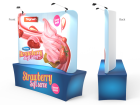 Custom 8ft Curved Tabletop Tension Fabric Trade Show Backwall Display (Frame + Graphic)