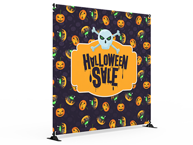 8x8 Halloween Large Tube Telescopic Tension Fabric Backdrop Banner Stand 02