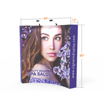 Custom 8ft Curved & Banner Fabric Pop Up Trade Show Backwall Display (Frame + Graphic)