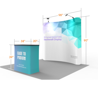 Custom 8ft Curved & Eye-Catching Tension Fabric Trade Show Booth Backwall Display with Durable Case to Podium (Frame + Graphic)