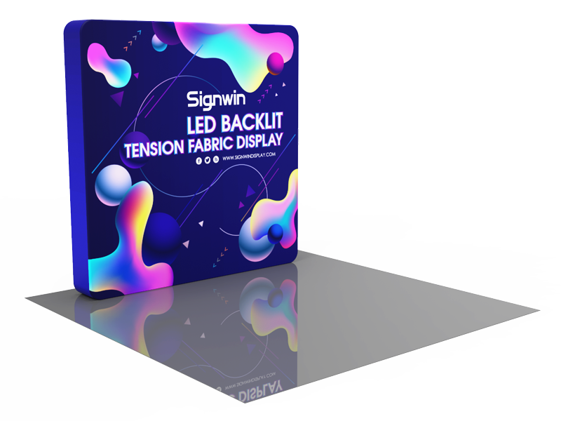 Custom 8ft Flat Brilliant Tension Fabric LED Backlit Trade Show Display