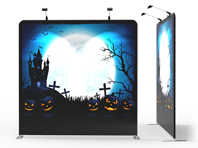 8x8 Halloween Flat Tension Fabric Backdrop Banner Stand 01