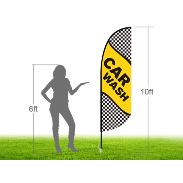 10ft CAR WASH Stock Blade Flag with Ground Stake 05