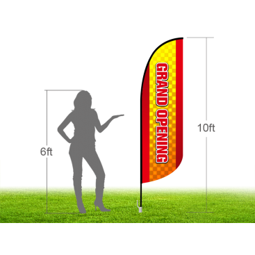 10ft GRAND OPENING Stock Blade Flag with Ground Stake 01