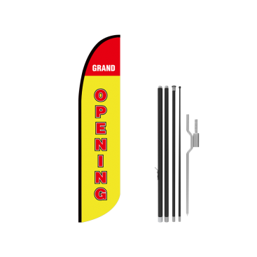 13ft GRAND OPENING Stock Blade Flag with Ground Stake 01