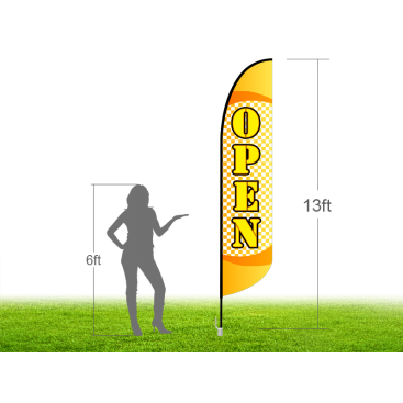 13ft OPEN Stock Blade Flag with Ground Stake 03
