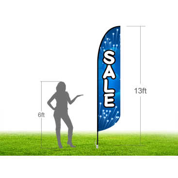13ft SALE Stock Blade Flag with Ground Stake 01