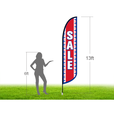 13ft SALE Stock Blade Flag with Ground Stake 04