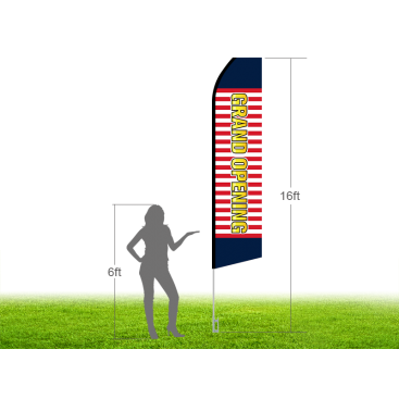 16ft GRAND OPENING Stock Swooper Flag with Ground Stake 03