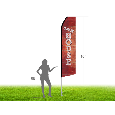 16ft OPEN HOUSE Stock Swooper Flag with Ground Stake 03