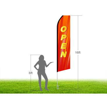 16ft OPEN Stock Swooper Flag with Ground Stake 02